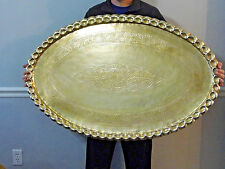 """Vintage Large Brass Oval Tray Table Top Wall Hanging 46 1/2"""" Mid Century"""
