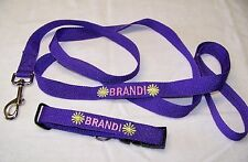 Leash and Small Dog Collar, Personalized with name, Unisex, Adjustable, S