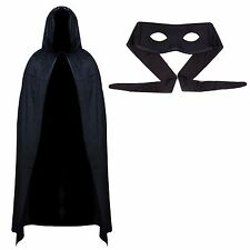 Mens Value Superhero Halloween Masquerade Outfit - Black Cape & Eye Mask