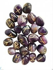 AMETHYST RUNE STONES POUCH INSTRUCTIONS CRYSTAL GEMSTONES DIVINATION WICCA PAGAN
