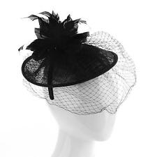 Derby Veil Feathers Disc Headband Fascinator Millinery Cocktail Mini Hat Black