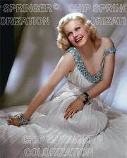 JEAN HARLOW IN BLUE BEADED DRESS BEAUTIFUL COLOR PHOTO BY CHIP SPRINGER