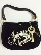 Authentic JUICY COUTURE Women Shoulder Hand Bag  Leather Black Strap