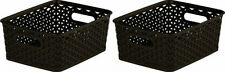 2x Curver Nestable Rattan Basket Small Storage Plastic Wicker Tray 8L - Brown