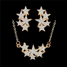 18K Gold Filled Austrian Crystal Star Necklace Pendant Earrings Jewelry Set