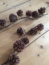 Pinecone Wired Garland, Long String of Glittered Pine Cones. Xmas Wedding Autumn