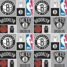 """Brooklyn Nets NBA Cotton Fabric 45"""" Sold By the Yard"""