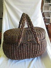 Antique OHIO Wicker Picnic Basket with Double Swing Handles
