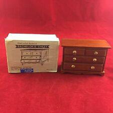 VINTAGE DOLLHOUSE MINIATURE FURNITURE-WOODEN BACHELOR'S CHEST DRESSER 4 DRAWERS
