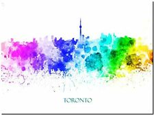 """Toronto City Skyline Canada Watercolor Abstract *FRAMED* Canvas Print 24x16"""""""