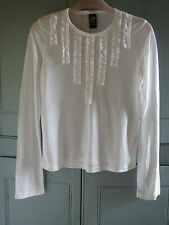 New GAP Ladies White Ruffle Long Sleeve T-Shirt Top Size XS
