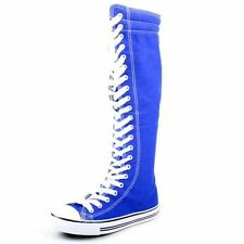 Women's Canvas  Lace Up Sneaker Punk Skate Shoes Knee High US 9 Royal Blue NEW