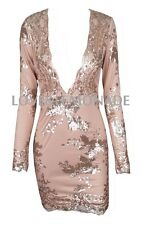 Long Sleeve Sequined Party Dress,Cocktail,Club,sexy dress,gold beige Deep V neck
