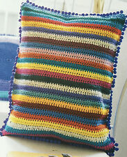 CROCHET PATTERN Striped & Round Cushion Cover Colourful 2 Designs Rowan PATTERN