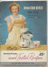1948 Hamilton Beach Food Mixer Instructions and Tested Recipes Book Mixguide