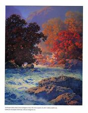 "MAXFIELD PARRISH BOOK PRINT ""SWIFTWATER"" WHITE WATER RIVER AUTUMN COLORS RICKS"
