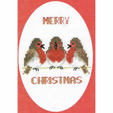 Derwentwater Designs Christmas Cross Stitch Card Kit - Robin Trio