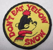 Vintage Don't Eat Yellow Snow Embroidered Snowmobile Patch Bear Unused
