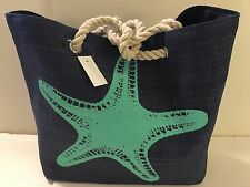 BEACH STRAW tote bag lined BLUE STARFISH rope handles pocket SNAP close NEW TAGS