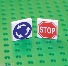 Lego 2x White Tile 2x2 Custom Printed Road Sign NEW!!!