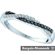 Black Diamond 14K White-Gold Ring Eternity love weave journey wedding birthday
