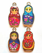 4 x ENAMELED RUSSIAN DOLL CHARMS VERY COLOURFUL 14mm x 26mm SILVER SET NUMBER 1