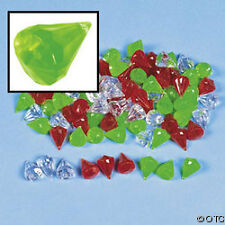 "LARGE Diamond Drop Shape Acrylic Beads Holiday Red Green Crystal Clear 7/8"" 9pc"