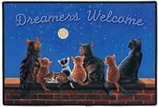 DOORMAT--18 X 27--Cats Under a Full Moon-, non-skid rubber backed,