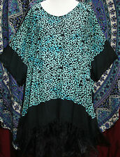 "PLUS SIZE KAFTAN STYLE TUNIC TOP GREEN ETHNIC PRINT 68"" BUST HIPPY QUIRKY BOHO"