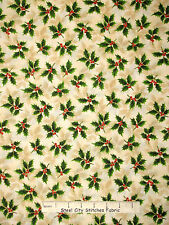 Christmas Fabric - Green Holly Leaves Gold Cream RJR 1988 Holiday Accents - Yard