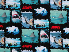 JAWS  GREAT WHITE SHARK  100% COTTON FABRIC TORN PATCHES UNIVERSAL MOVIE YARDAGE