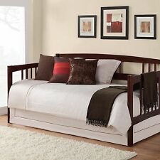Brown Twin Size Wood Day Bed Frame Home Living Room Bedroom Furniture Dorm