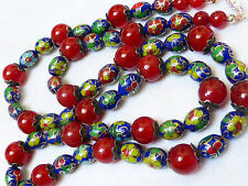 """CHINESE VINTAGE CARNELIAN CLOISONNE BEAD NECKLACE, 24"""" LONG, SILVER CLASP"""