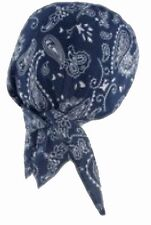 Doo Rag Bandana Du Head Wrap NAVY BLUE Paisley Skull Cap Mens Womens Dew Hat