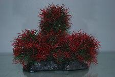 Aquarium Large Rouge & Vert Bush Plante 17 x 7 x 16 cms Pour Tous Les Aquariums