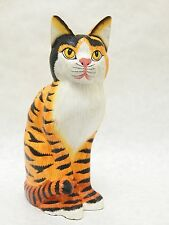 "Wooden Cat Hand Carved&Painted Wood Home Decor Sculpture Statue 11"" #N1815"