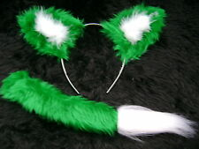 Green Fox Ears And Tail Set Instant Fancy Dress Faux Fur Fox Handmade Unique