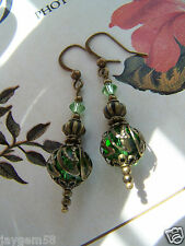 Vintage Style Bronze and Green Earrings with Swarovski Elements