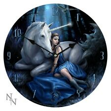 NEMESIS NOW ANNE STOKES  ROUND WALL CLOCK *BLUE MOON* UNICORN/OCCULT/WITCH BNIB