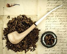 "HAND MADE LADY WOODEN SMOKING PIPE White  "" Light "" Churchwarden Made by Artisan"