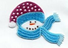 CHRISTMAS SNOWMAN WITH HAT AND SCARF EMBROIDERED IRON ON  APPLIQUE 2665-J
