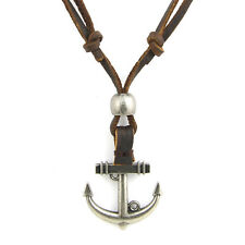 Hot Punk Men Women Anchor Pendant Brown Genuine Leather Necklace Cord Adjustable