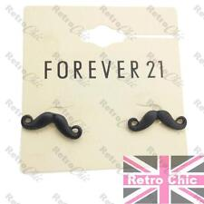 CUTE TEXTURED MOUSTACHE STUD EARRINGS black KITSCH emo RETRO FOREVER 21 studs