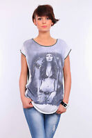 Women's Top LADY Print Boat Neck Short Sleeve T-Shirt Sizes 8-12 FHB09