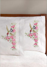 Stamped Embroidery ~ Plaid / Bucilla Hummingbird Floral Pillowcases (2) #46126