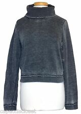 Guess Womens Shirt Sweatshirt Cowl Neck Fleece Knit Crop Top Black Fade XL NEW