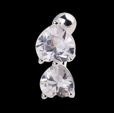 Women Reverse Crystal Two Heart Bar Belly Ring Gold Body Piercing Button Navel