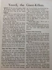 A1-3 Ephemera 1949 Article Football Yeovil Town F A Cup Giant Killers 1 Page