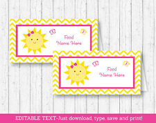 You Are My Sunshine Chevron Buffet Tent Cards & Place Cards Editable PDF