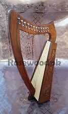 12 Strings Celtic Irish Rosewood Harp With Carrying Bag And Key & Strings Set